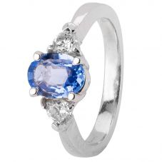 Second Hand 9ct White Gold Sapphire and Diamond Ring 4328321