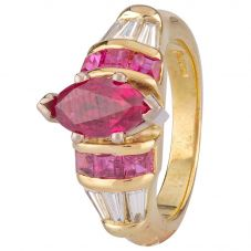 Second Hand 18ct Yellow Gold Ruby and Diamond Ring 4328322