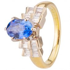 Second Hand 18ct Yellow Gold Sapphire and Diamond Ring 4328323