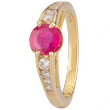 Second Hand 18ct Yellow Gold Ruby and Diamond Ring 4328326
