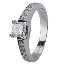 Second Hand 14ct White Gold Diamond Solitaire Ring 4328394