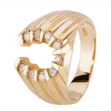Second Hand 14ct Yellow Gold Mens Diamond Horseshoe Ring 4328397