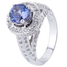 Second Hand 18ct White Gold Tanzanite and Diamond Ring 4328988