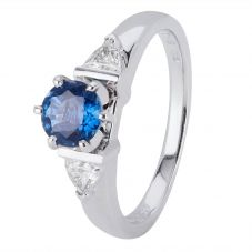 Second Hand 18ct White Gold Sapphire and Diamond Ring 4329225