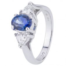 Second Hand 14ct White Gold Sapphire and Diamond Ring 4329229