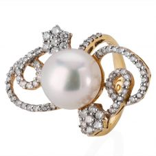 Second Hand 18ct Yellow Gold South Sea Pearl and Diamond Ring 4329294