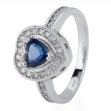 Second Hand 14ct White Gold Sapphire and Diamond Ring 4329325