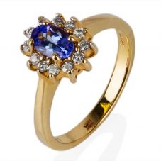 Second Hand 14ct Yellow Gold Tanzanite and Diamond Cluster Ring 4329331