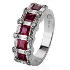 Second Hand 14ct White Gold Ruby and Diamond Ring 4329426