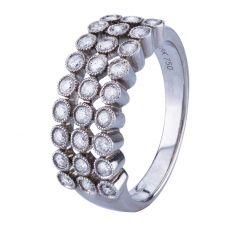 Second Hand 18ct White Gold Diamond Three Row Ring 4329874
