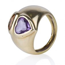 Second Hand 18ct Yellow Gold Amethyst and Citrine Double Heart Ring 4329908