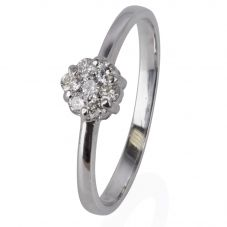 Second Hand 14ct White Gold Diamond Seven Stone Cluster Ring 4329996