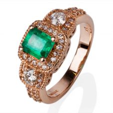 Second Hand 14ct Rose Gold Diamond Emerald Ring 4332107