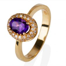 Second Hand 18ct Yellow Gold Amethyst and Diamond Cluster Ring 4332552