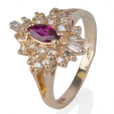 Second Hand 14ct Yellow Gold Ruby and Diamond Cluster Ring 4332574