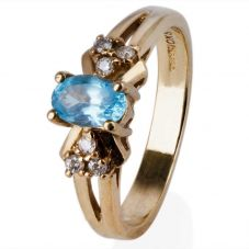 Second Hand 9ct Yellow Gold Blue Topaz and Diamond Cluster Ring 4332611