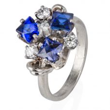 Second Hand 9ct White Gold Sapphire and Diamond Cluster Ring 4332757
