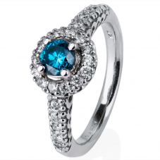 Second Hand 14ct White Gold Blue Diamond Cluster Ring 4332775