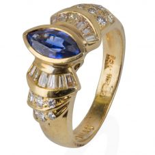 Second Hand 14ct Yellow Gold Sapphire and Diamond Ring 4332788