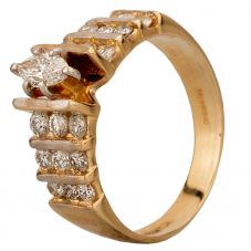 Second Hand 14ct Yellow Gold Marquise and Round Cut Diamond Ring GMC(81/1/81)