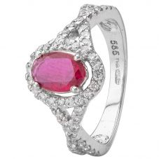 Second Hand 14ct White Gold Ruby and Diamond Ring 4332939