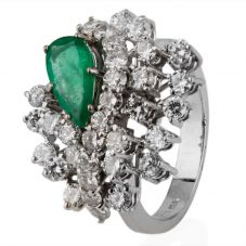 Second Hand 14ct White Gold Emerald and Diamond Cluster Ring 4332947