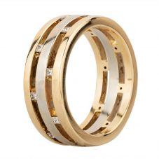 Second Hand 9ct Two Colour Gold Multi-Cut Diamond Three Row Ring GMC(81/1/282)