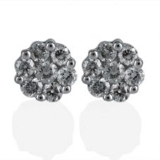 Second Hand 18ct White Gold 7 Stone Diamond Cluster Earrings 4333152