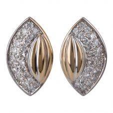 Second Hand 14ct Yellow Gold Diamond Leverback Stud Earrings 4333220