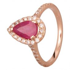 Second Hand 14ct Rose Gold 1.30ct Pear Shaped Ruby and 0.40ct Diamond Cluster Ring GMC(115/1/2)
