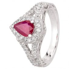 Second Hand 18ct White Gold 0.95ct Pear Shaped Ruby and 0.70ct Diamond Cluster Ring GMC(115/1/4)