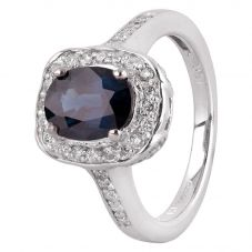 Second Hand 14ct White Gold 2.00ct Sapphire and Diamond Halo Ring GMC(115/3/8)