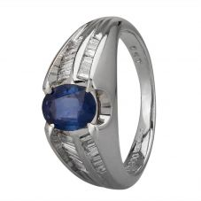 Second Hand Platinum 0.90ct Sapphire and Diamond Shoulders Ring GMC(111/1/9)