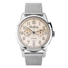 Second Hand Breitling Transocean 1915 Limited Edition Silver Bracelet Watch AB141112 G799 154A