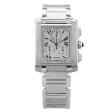Second Hand Cartier Tank Francaise Chronoflex Silver Rectangular Bracelet Watch 2303