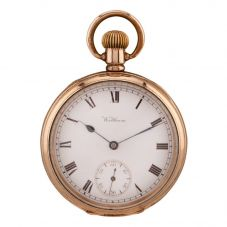 Second Hand Waltham Mechanical Gold Plated Open Case Pocket Watch Q600508(442)