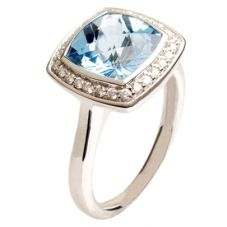 9ct White Gold Diamond and Blue Topaz Square Ring 9DR442-BT-W