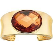 Fiorelli Costume Gold Plated Oval Orange Crystal Wide Bangle B4045
