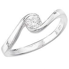 Silver Clear CZ Twist Ring GKR691C