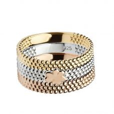 House Of Lor Silver Gold Plated Rose Gold Plated Ring H-20001 P