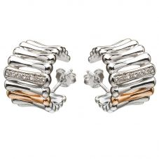 House Of Lor Silver Cubic Zirconia Rose Bar Huggies Earrings H-30002