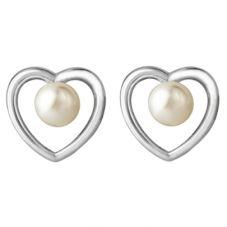 Jersey Pearl Aphrodite Silver Heart Freshwater Pearl Stud Earrings KSE1