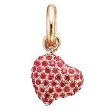 Story Gold Plated Red Cubic Zirconia Pavé Heart Charm 5208854