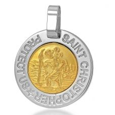 Silver Two Tone St Christopher Pendant 8.62.7409