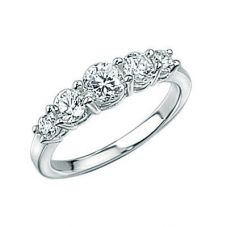 Silver Cubic Zirconia Five Stone Ring R2103C