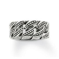 Thomas Sabo Ladies Silver Studded Curb Link Ring TR1931-001-12