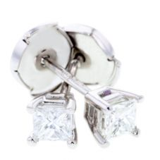 Arctic Circle Diamonds 18ct White Gold 0.40ct Diamond Princess Cut Studs UKE234940