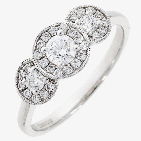 T H Baker 18ct White Gold 0.45ct Diamond Triple Cluster Ring
