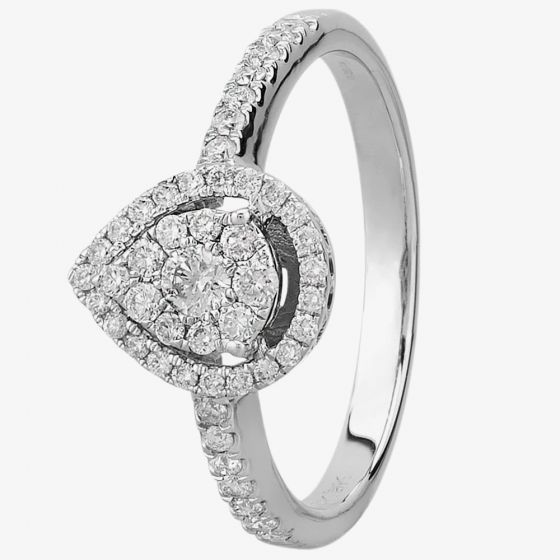 T H Baker 9ct White Gold 0.50ct Diamond Pear Halo Cluster Ring