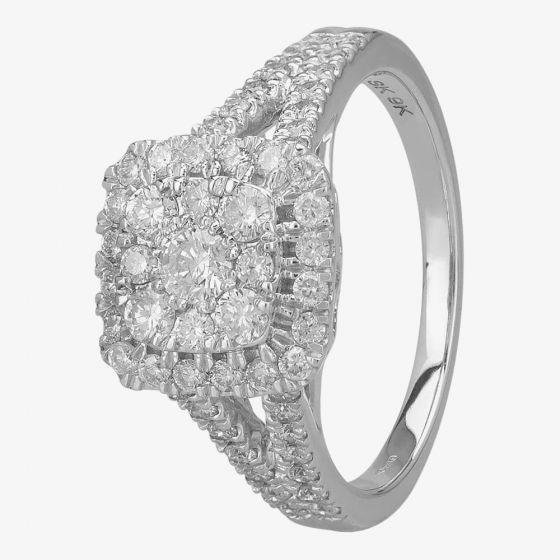 T H Baker 9ct White Gold 1.00ct Diamond Shouldered Square Cluster Ring